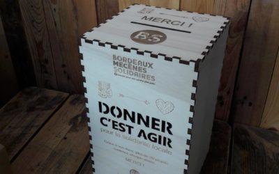 Urne de don pour la fondation Bordeaux Mécènes Solidaires