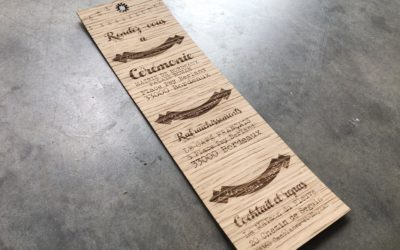 Invitations et faire-parts sur placage bois