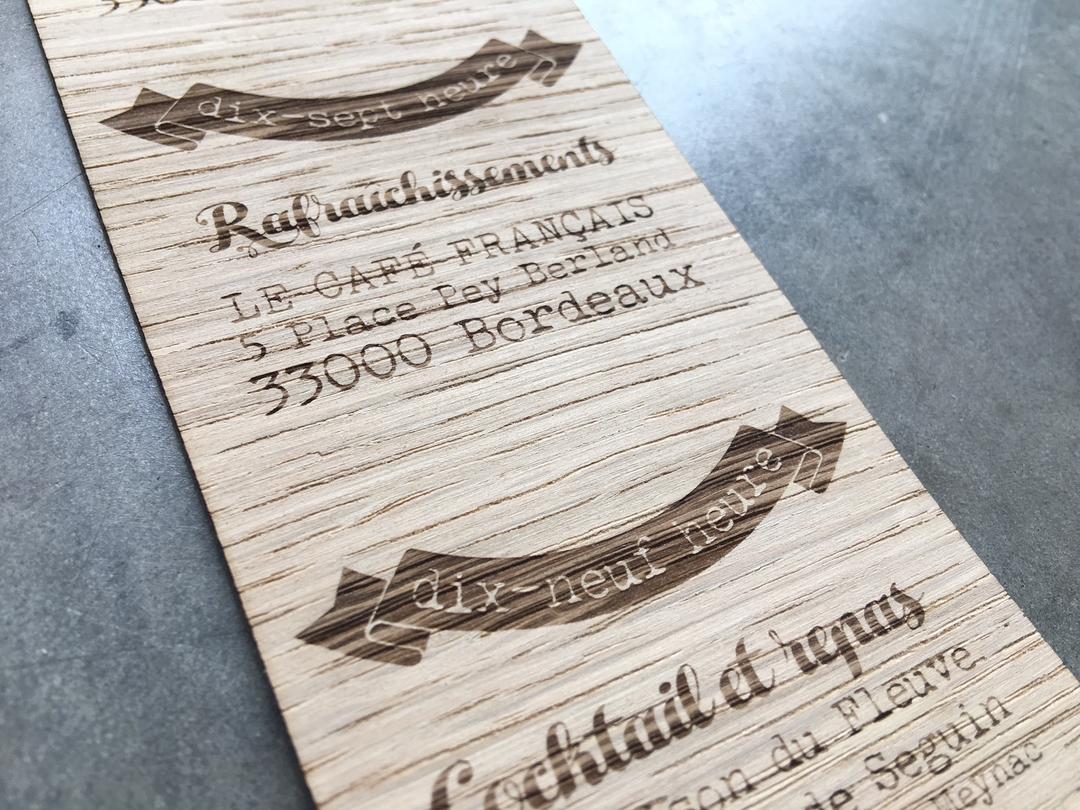Faire part de mariage en bois découpe et gravage laser