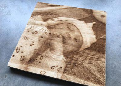 Gravure photo sur bois