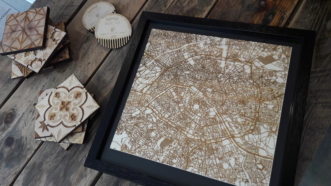 Plan de Paris gravure laser sur bois collection Craft & Co