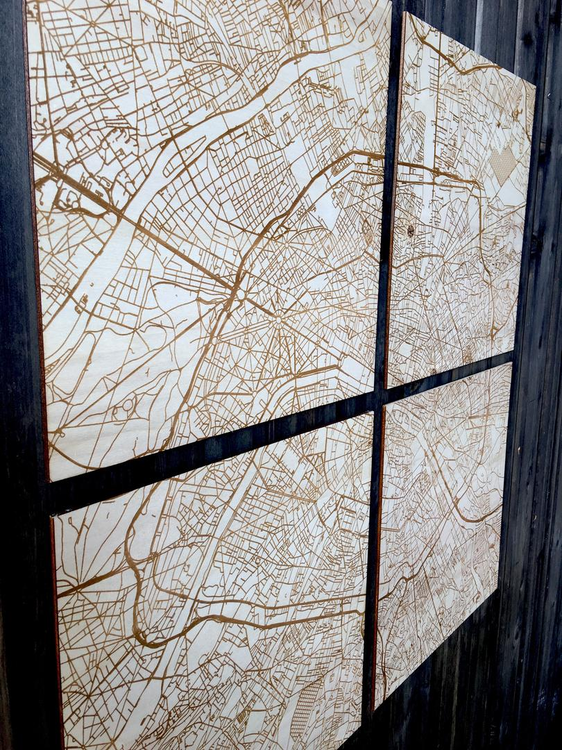 Quadriptyque Plan de Paris gravure laser sur bois collection Craft & Co