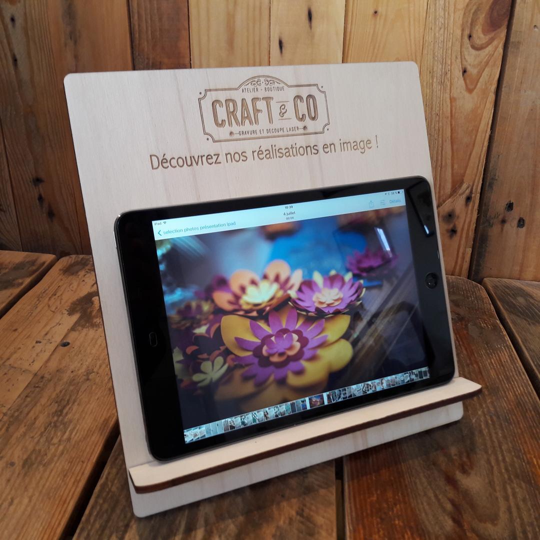 Support tablette présentation gravure et découpe laser sur bois collection Craft & Co