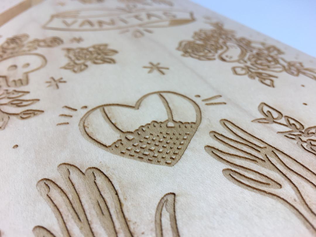 Skate Vanitas gravure sur bois collection craft & co