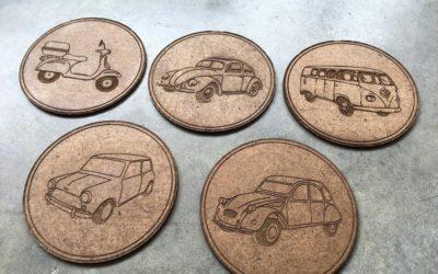 Sous-verres véhicules vintage de collection