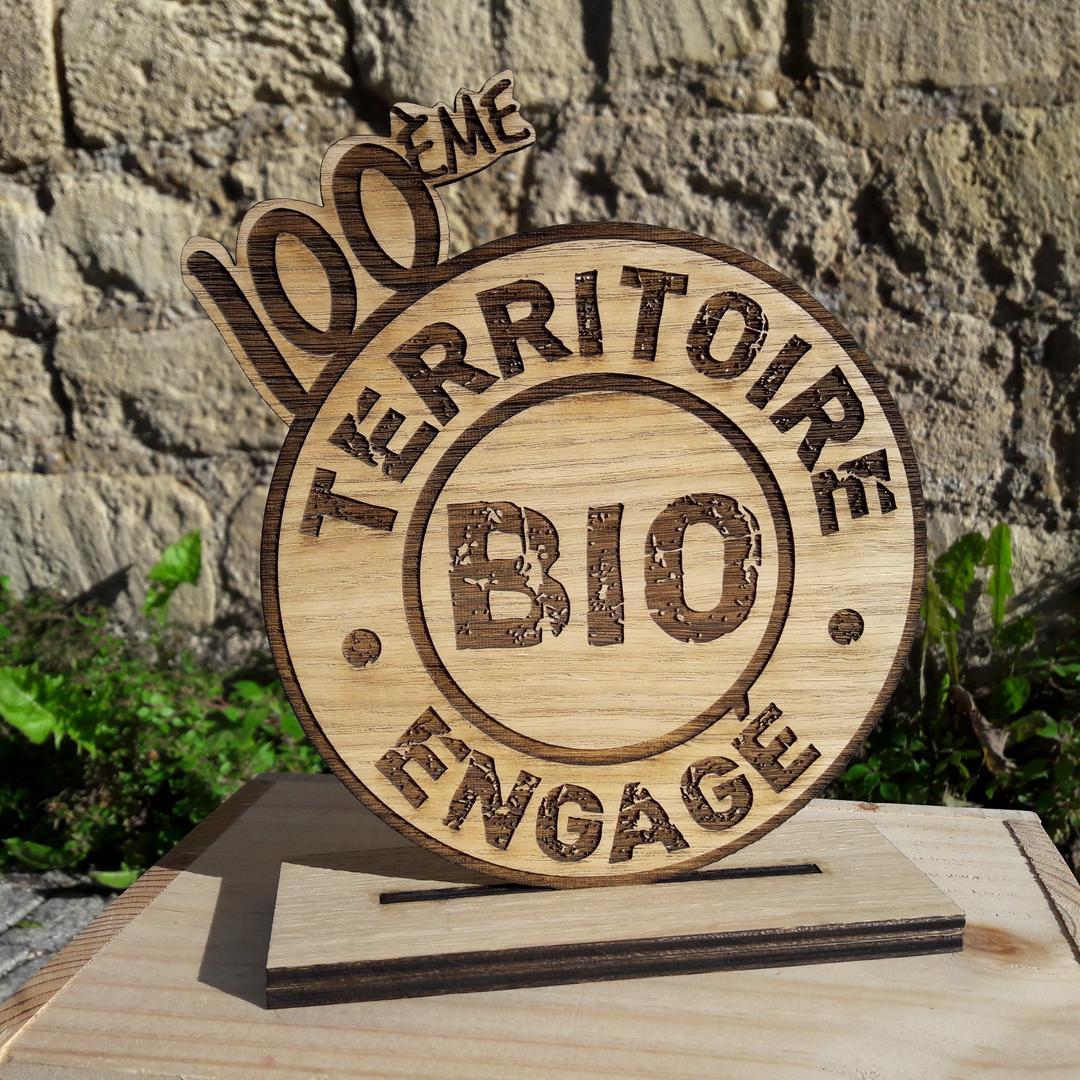 Trophée Interbio gravure et découpe laser sur bois