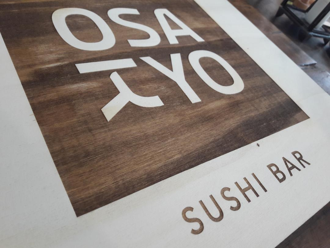 Enseigne restaurant Osakyo gravure découpe laser sur bois