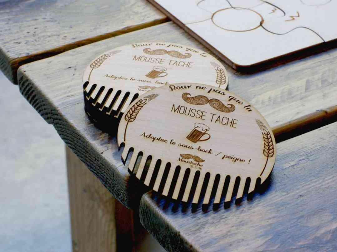 Sous-bocks moustache peigne en bois gravés par laser collection Craft & Co