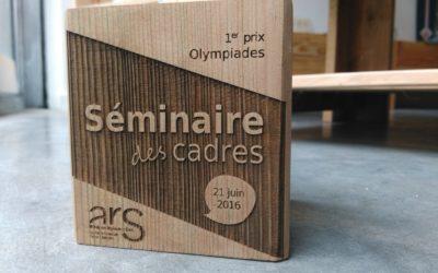 Trophées en bois pour le Séminaire des Cadres – Agence Régionale de Santé Nouvelle Aquitaine
