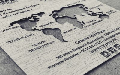 Carte de vœux en bois pour Cézame Atlantique