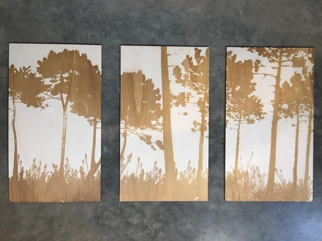 Triptyque sur mesure pour un particulier gravure laser forets de pins sur peuplier