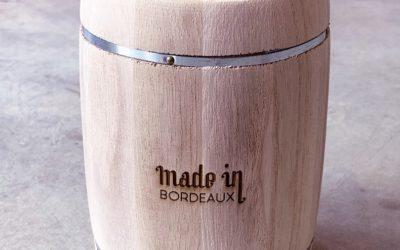 Tonneaux en bois personnalisés par gravure laser pour Made-In-Bordeaux