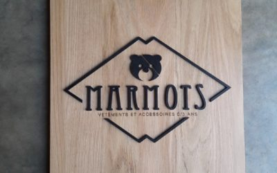 Enseigne en lettrages découpés pour la boutique bordelaise Marmots