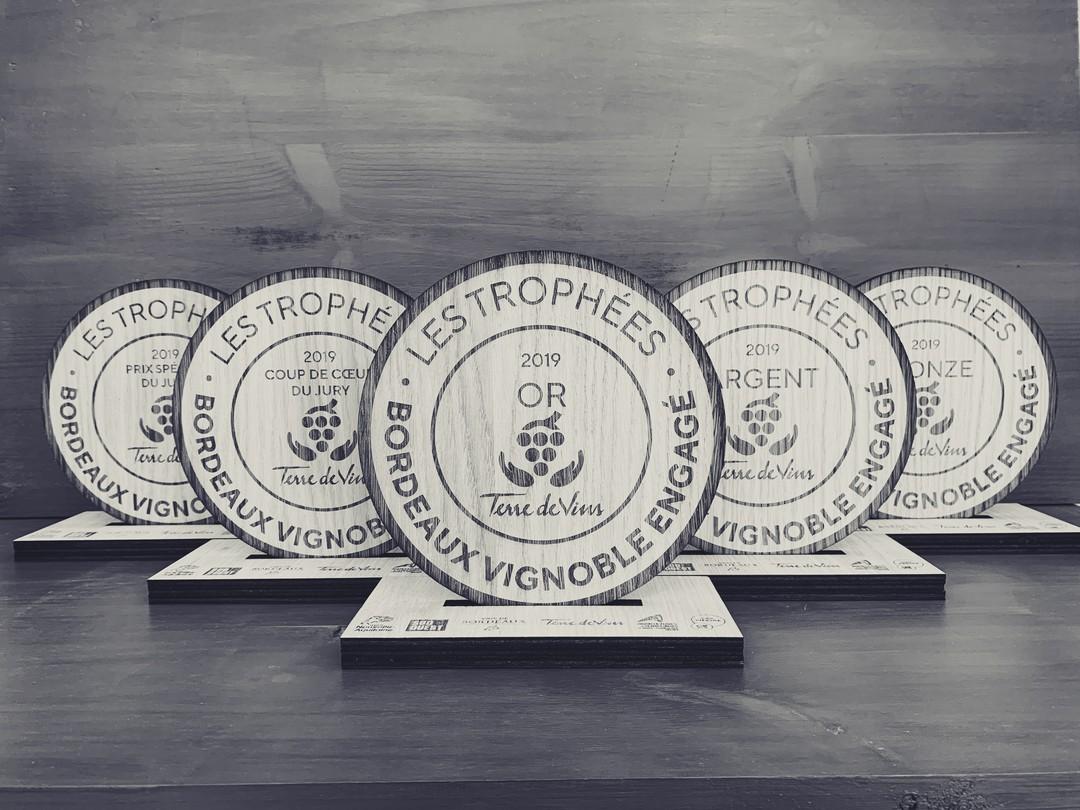 Trophées vignobles bordeaux engagés en bois chêne prix spécial pour magazine Terre de Vins 2019 gravure decoupe laser