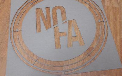 Pochoir sur-mesure pour la décoration du comptoir du restaurant NOFA