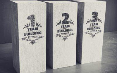 Trophées en bois massif pour un team building Extencia