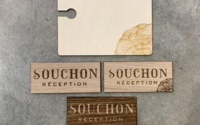 Planchettes dégustation et rappels de marque pour Souchon Réception