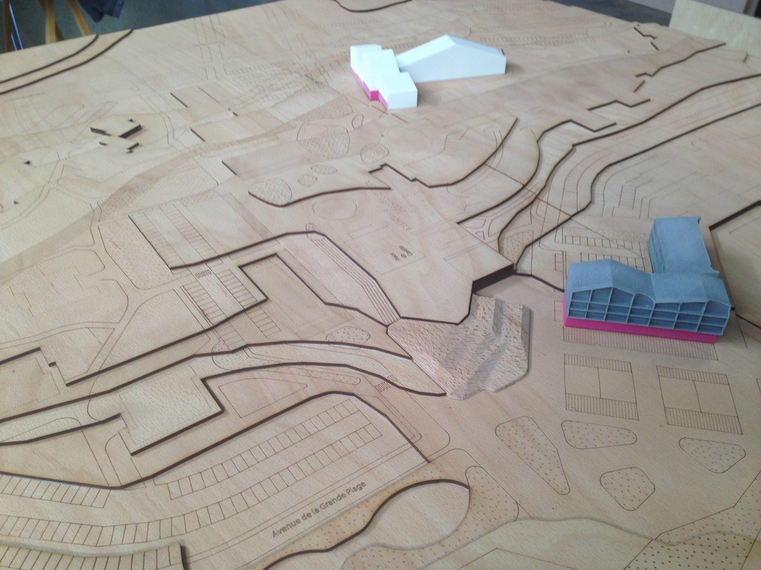 Maquette découpe laser bois topographie USU architecture