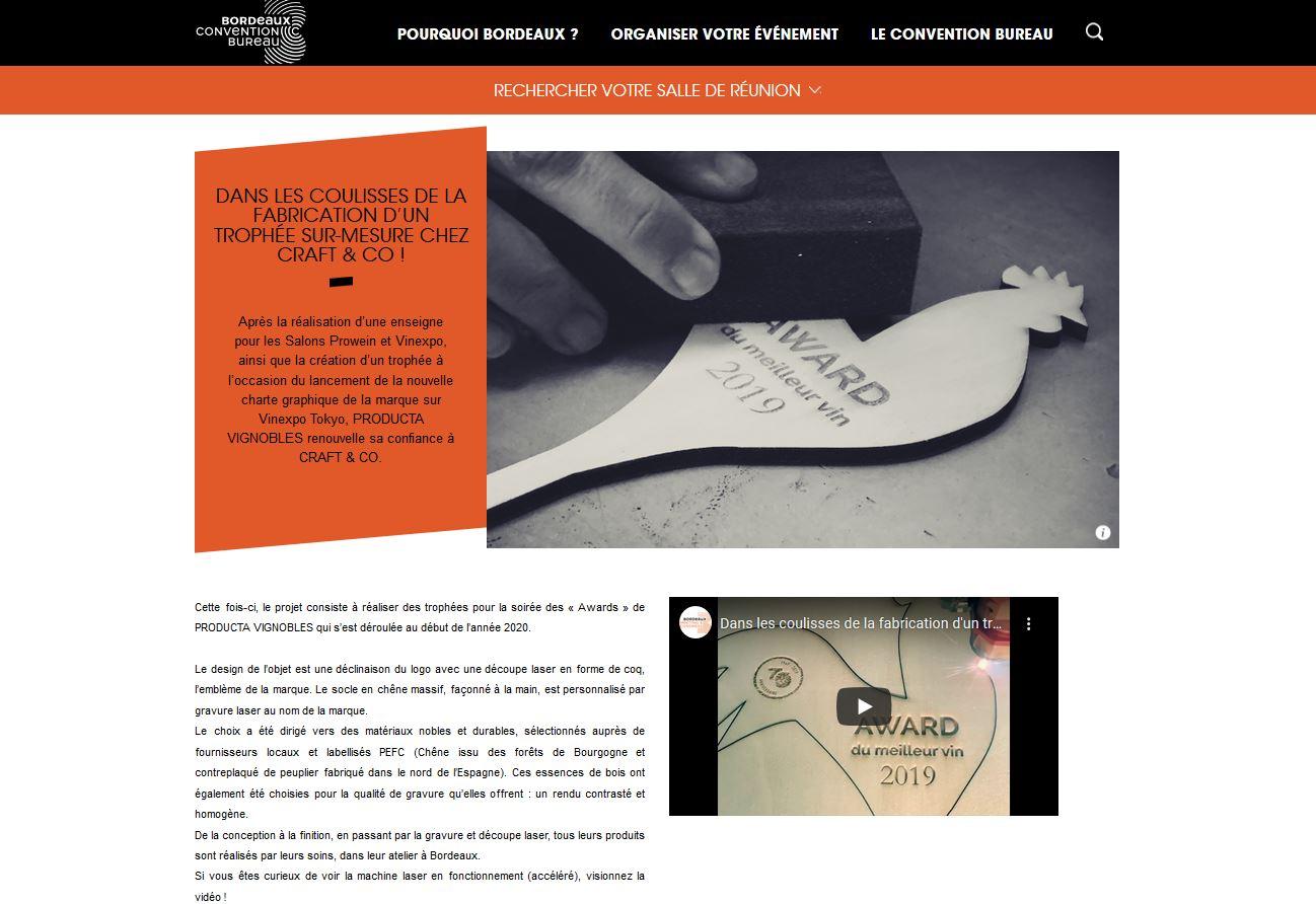 News Bordeaux Convention Bureaux pour la fabrication des trophées coulisses chez Craft and Co gravure et découpe laser